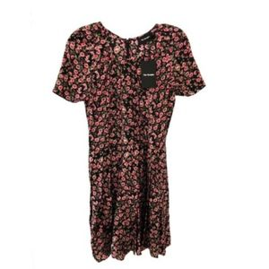 The Kooples FR1454 Short Sleeves Black Pink Floral